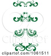 Royalty Free Vector Clip Art Illustration Of A Digital Collage Of Green Flourish Borders