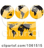 Digital Collage Of 3d Black And Yellow Shiny Globes And A World Map