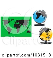 Digital Collage Of 3d Desk Globes And A World Map
