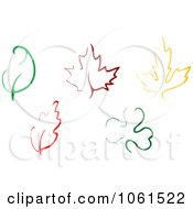 Royalty Free Vector Clip Art Illustration Of A Digital Collage Of Simple Colorful Leaf Designs by Vector Tradition SM