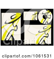 Royalty Free Vector Clip Art Illustration Of A Digital Collage Of Abstract Yellow And Black Labels And Stationery by Vector Tradition SM