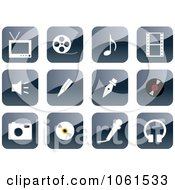 Royalty Free Vector Clip Art Illustration Of A Digital Collage Of 3d Shiny Gray Website Icons