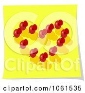 Royalty Free Vector Clip Art Illustration Of 3d Red Thumb Tacks Forming A Heart On Yellow Paper