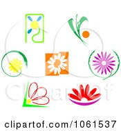 Royalty Free Vector Clip Art Illustration Of A Digital Collage Of Cartoon Flower Logos by Vector Tradition SM