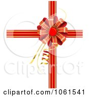 Royalty Free Vector Clip Art Illustration Of A Red And Gold Striped Gift Bow And Ribbons Over White