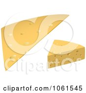 Royalty Free Vector Clip Art Illustration Of A Digital Collage Of A 3d Slice And Wedge Of Cheese