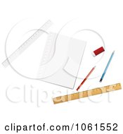 Royalty Free Vector Clip Art Illustration Of A Digital Collage Of Pencils Rulers An Eraser And Paper by Vector Tradition SM
