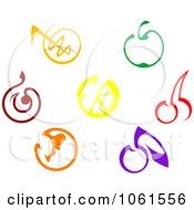 Royalty Free Vector Clip Art Illustration Of A Digital Collage Of Cartoon Fruit Logos