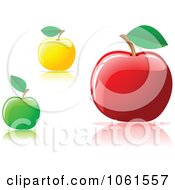 Royalty Free Vector Clip Art Illustration Of A Digital Collage Of 3d Yellow Green And Red Apples With Leaves