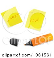 Royalty Free Vector Clip Art Illustration Of A Digital Collage Of Notes And A Highlighter by Vector Tradition SM