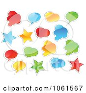 Royalty Free Vector Clip Art Illustration Of A Digital Collage Of Shiny Colorful Star Cloud And Word Balloon Stickers
