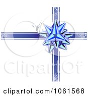 Royalty Free Vector Clip Art Illustration Of A Blue Gift Bow And Ribbons Over White