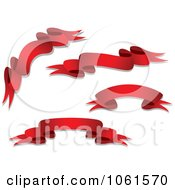 Royalty Free Vector Clip Art Illustration Of A Digital Collage Of Wavy Red 3d Ribbon Banners