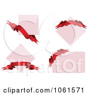 Royalty Free Vector Clip Art Illustration Of A Digital Collage Of Blank Signs And Red 3d Ribbon Banners