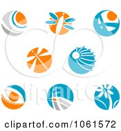 Blue Orange And White Abstract Logos Digital Collage Royalty Free Vector Clip Art Illustration by Vector Tradition SM
