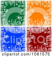 Royalty Free Vector Clip Art Illustration Of A Digital Collage Of Backgrounds Of Snowflakes Stars And Snow On Green Orange Blue And Red
