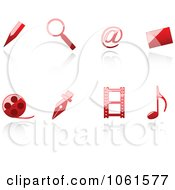 Royalty Free Vector Clip Art Illustration Of A Digital Collage Of 3d Shiny Red Web Browser Icons
