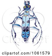 Clipart Blue Rosalia Longicorn Beetle Royalty Free Vector Illustration by Zooco