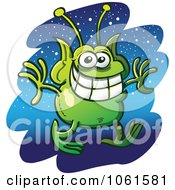 Clipart Grinning Martian Against Stars Royalty Free Vector Illustration by Zooco