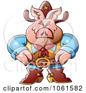 Clipart Western Sheriff Pig Royalty Free Vector Illustration