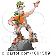 Clipart Outdoors Man Standing On A Boulder Royalty Free Vector Illustration