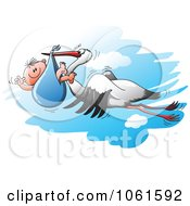 Clipart Stork And Baby In The Sky Royalty Free Vector Illustration