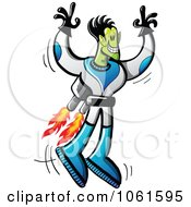 Clipart Alien Astronaut With A Jet Pack Royalty Free Vector Illustration by Zooco