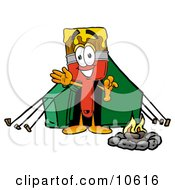 Paint Brush Mascot Cartoon Character Camping With A Tent And Fire