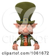 Clipart 3d Skinny Leprechaun With A Sign 1 Royalty Free CGI Illustration