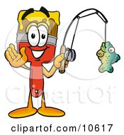 Clipart Picture Of A Paint Brush Mascot Cartoon Character Holding A Fish On A Fishing Pole by Toons4Biz