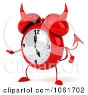 Clipart 3d Devil Alarm Clock Gesturing Left Royalty Free CGI Illustration by Julos