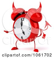Clipart 3d Devil Alarm Clock Gesturing Left Royalty Free CGI Illustration