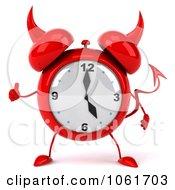 Clipart 3d Devil Alarm Clock Holding A Thumb Up Royalty Free CGI Illustration