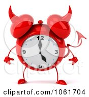 Clipart 3d Devil Alarm Clock Pouting Royalty Free CGI Illustration
