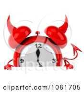Clipart 3d Devil Alarm Clock Holding A Sign Royalty Free CGI Illustration