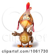 Clipart 3d Brown Rooster Presenting Royalty Free CGI Illustration