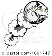 Clipart Flying Softball Character Royalty Free Vector Illustration