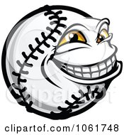 Clipart Grinning Softball Character Royalty Free Vector Illustration by Vector Tradition SM