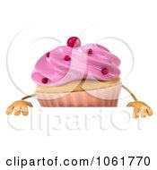 Clipart 3d Pink Sprinkled Cupcake Sign Royalty Free CGI Illustration