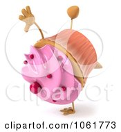 Clipart 3d Pink Sprinkled Cupcake Doing A Cartwheel Royalty Free CGI Illustration