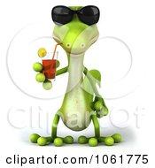 Clipart 3d Gecko Drinking 1 Royalty Free CGI Illustration