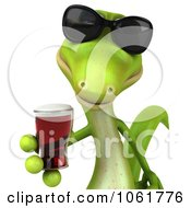 Clipart 3d Gecko Holding A Beer 1 Royalty Free CGI Illustration