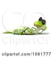 Clipart 3d Gecko Reclined In Sunglasses 1 Royalty Free CGI Illustration