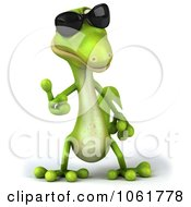 Clipart 3d Thumbs Up Gecko Wearing Shades Royalty Free CGI Illustration