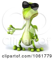 Clipart 3d Gecko Wearing Shades And Presenting Royalty Free CGI Illustration