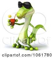 Clipart 3d Gecko Drinking 2 Royalty Free CGI Illustration