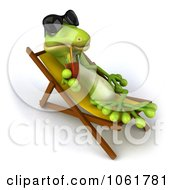 Clipart 3d Gecko With A Drink In A Lounge Chair Royalty Free CGI Illustration