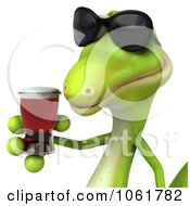 Clipart 3d Gecko Holding A Beer 2 Royalty Free CGI Illustration
