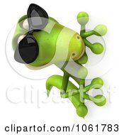 Clipart 3d Gecko In Shades Looking Around A Sign Royalty Free CGI Illustration