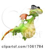 Clipart 3d Flying Dragon Wearing Shades Royalty Free CGI Illustration